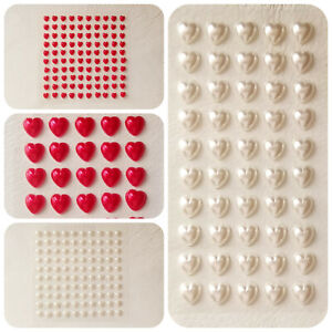 6mm or 10mm Self Adhesive Stick On Pearl Love Hearts in Red or Ivory