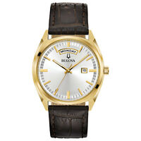 Bulova Men's Quartz Day-Date Calendar Leather Band 39 mm Watch 97C106
