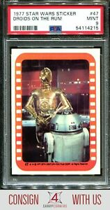 1977 STAR WARS STICKERS #47 DROIDS ON THE RUN! PSA 9 A3122660-215