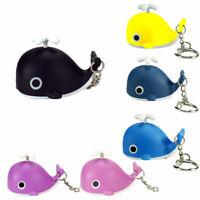 NE_ Lovely Whale Keychain LED Flashlight Sound Car Key Ring Bag Purse Pendant Gi