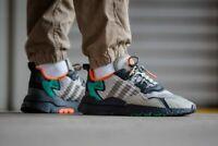 Adidas Nite Jogger Mens Grey Black Green Shoe Sneaker Trainers UK Size 7-11