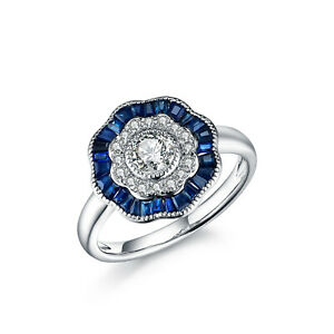 0.70 CT Blue Sapphire Gemstone 14K White Gold Real Diamond Floral Ring Jewelry