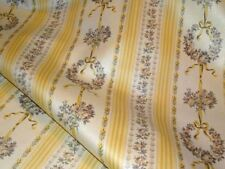 Covington LEMON Yellow Shades Floral Stripe Drapery Home Decor Sewing Fabric BTY