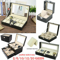 2/6/10/12/20 Grids Faux Leather Watch Case Display Box Storage Jewellery Glass
