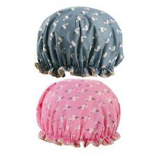 2 Shower Cap Women Bath Hat Hair Reusable Elastic Salon Cover Waterproof Bathing