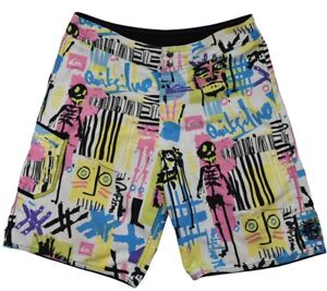 Quicksilver Swim Trunks Graphic White Printed Board Shorts Unlined Mens 34