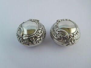 2 X VERY PRETTY ANTIQUE ENGLISH STERLING SILVER  PILL / PATCH BOXES