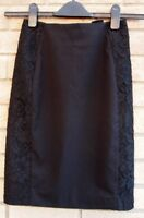 H&M BLACK TAILORED LACE CROCHET SIDES FORMAL PARTY BODYCON PENCIL SKIRT 6 XS