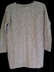 TU WOMAN  Ladies Soft Light Grey Thick Knitted Tunic /Long Jumper Size 8