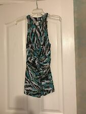 KENNETH COLE Tank Top LARGE Green Brown Turquoise Knot Front Viscose Stretch