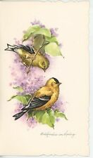 VINTAGE GOLDFINCH BIRDS PURPLE LILAC TREE BUSH SPRING CARD ART LITHOGRAPH PRINT