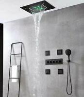 Thermostatic LED Rainfall Shower System Brass Massage Shower Body Jets Black Set