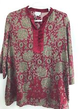 Soft Surroundings Women's Embroidered 3/4 Sleeves Tunic Blouse Velvet Details