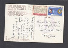 Y3943  Panama  Nov 1961 posctard UK; 2 stamps, 22c rate, Lions stamp