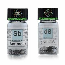 Antimony Metal Element 51 sample of 5 grams 99,9% powder in labeled glass vial