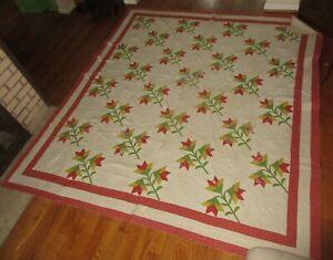 "Antique Applique Flower Feed Sack Fabric Pennsylvania Quilt 100"" x 91"" Large"