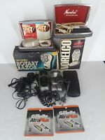 Lot of Vintage Electric Razors Shavers Norelco Braun For Parts Gillette Blades