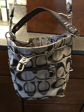 Gray And Silver Coach Handbag With Removable Strap