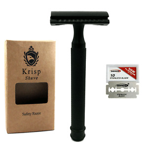GERMAN MADE LONG HANDLE DOUBLE EDGE SAFETY RAZOR FOR MEN'S WET SHAVE + 5 BLADES