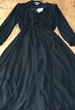"VINTAGE 1980'S 'PARIGI' FLOATY GEORGETTE LAYERED FULL SKIRT DRESS UK 10 38"" B"