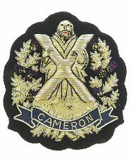 QUEENS OWN CAMERON HIGHLANDERS DELUXE HAND MADE SILVER BULLION WIRE BLAZER BADGE