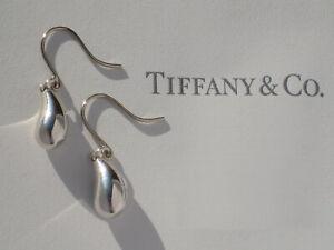 Tiffany & Co Sterling Silver Earrings Solid Elsa Peretti Teardrop Hook Drop