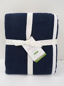 Pottery Barn Belgian Flax Contrast Flange Duvet Cover Queen Midnight White #8738