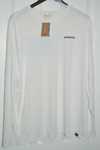 patagonia mens capilene cool long sleeve boardshort logo white 50+UPF shirt XL