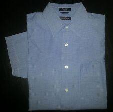 2797s Diagonal Stripe L Lt Blue NAUTICA S/S Casual Dress Shirt!