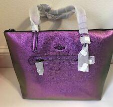 New COACH 57329 HOLOGRAM Taylor Leather Tote $350 Purple Blue  Purse Bag Shopper