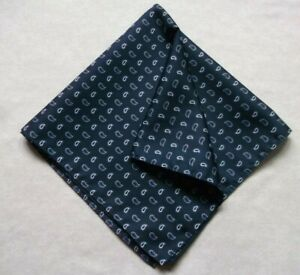 Hankie Pocket Square Handkerchief Hanky MENS Navy Blue PAISLEY