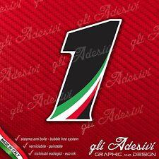 Adesivo Stickers NUMERO 1 moto auto cross gara Nero & Tricolore
