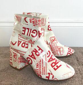 MAISON MARGIELA MM6 WHITE FLARED HEEL FRAGILE TAPE PVC ANKLE BOOTS US7/EUR37/UK4