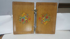 Vtg Haskelite Floral Graphics Folding Double Serving Tray W/ Aluminum Handle