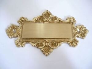 Solid Brass Ornate Shaped Blank Engraveable Sign