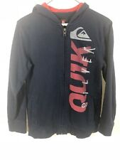 Quiksilver Womens Hoodie Spellout Zip Up Size M Navy Blue/red