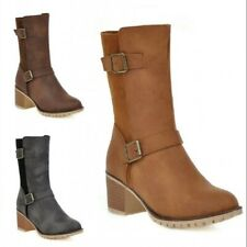 New Womens Ladies Ankle Boots Mid Block Heel Zip Casual Shoes 3 Colors Outdoor