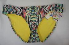 Becca Bikini Bottom Sz M Multi Shirred Summer Swimwear Swim Bottoms 614657