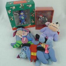 Vintage Disney Eeyore Christmas Ornaments Lot of 5 Plastic And Fabric 1990s