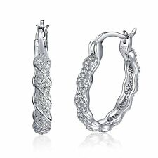Rope Twist Cubic Zirconia Hoop Sterling Silver Earrings Ginger Lyne Collection