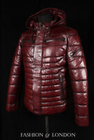 Men ICEBERG PUFFER Quilted Leather Jacket Cherry Italian Lambskin Leather Jacket
