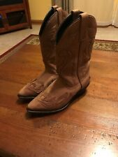 Ladies Suede Leather Upper Western Cowboy Boots Tan Size 7