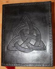 TREQUETRA BLACK LEATHER JOURNAL/BOOK OF SHADOWS ~ HAND MADE PAPER