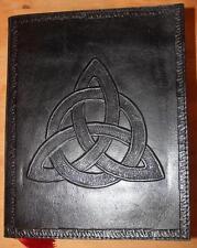 Trequetra Negro Cuero Diario/Libro De Las Sombras ~ papel hecha a mano