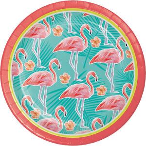 8 x Island Oasis Tropical Party Flamingo Paper Plates Hawaiian Beach theme 18cm