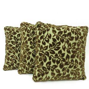 Vintage Flocked Chenille Velvet Tapestry Set of 3 Throw Pillows