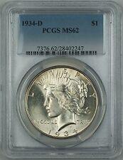 1934-D Silver Peace Dollar Coin $1 PCGS MS-62 (Better Coin) DMK