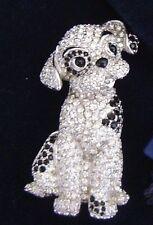 Signed Swan Swarovski Puppy Dog Brooch Pin