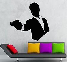 Wall Stickers Vinyl Decal Agent James Bond Spy Mafia Man with Gun (ig1796)