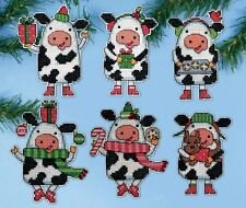 Design Works Cross Stitch Kit - Christmas Cows Ornaments(6) on Plastic Canvas